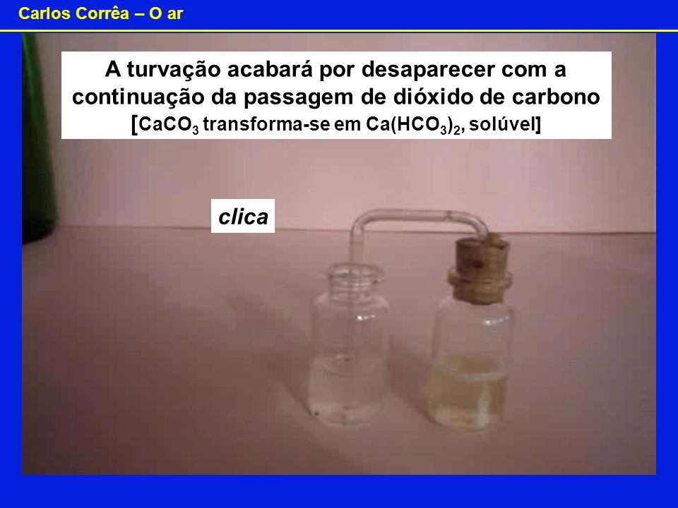 A turvação acabará por desaparecer com a continuação da passagem de dióxido de carbono [CaCO3 transforma-se em Ca(HCO3)2, solúvel]